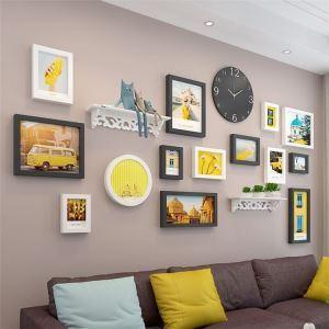 壁掛けフォトフレーム 写真立てセット 額縁 フォトデコレーション 木製 14個セット 北欧風