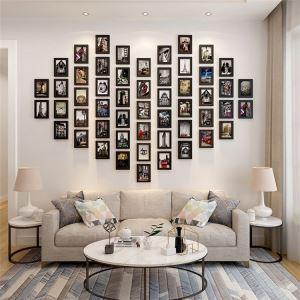 壁掛けフォトフレーム 写真立てセット 額縁 フォトデコレーション 木製 52個セット 北欧風
