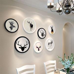 壁掛けフォトフレーム 写真立てセット 額縁 フォトデコレーション 木製 7個セット 丸型