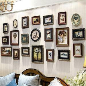 壁掛けフォトフレーム 写真立てセット 額縁 フォトデコレーション 木製 21個セット レトロ