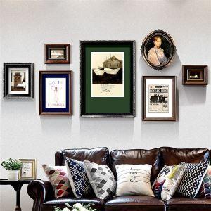 壁掛けフォトフレーム 写真立てセット 額縁 フォトデコレーション 木製 7個セット レトロ