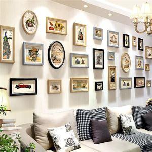 壁掛けフォトフレーム 写真立てセット 額縁 フォトデコレーション 木製 26個セット