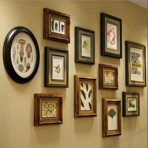 壁掛けフォトフレーム 写真立てセット 額縁 フォトデコレーション 木製 11個セット レトロ