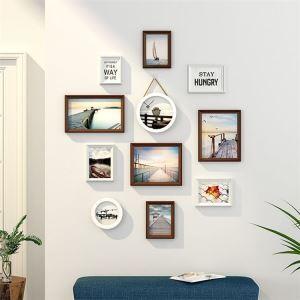 壁掛けフォトフレーム 写真立てセット 額縁 フォトデコレーション 木製 11個セット