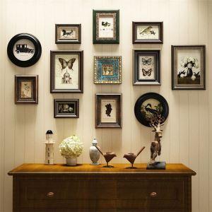 壁掛けフォトフレーム 写真立てセット 額縁 フォトデコレーション 木製 12個セット レトロ