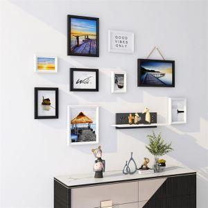 壁掛けフォトフレーム 写真立てセット 額縁 フォトデコレーション 木製 9個セット