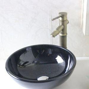 洗面ボール 手洗鉢 洗面器 強化ガラス製 排水金具付 オシャレ 黒色 D31cm VTN279