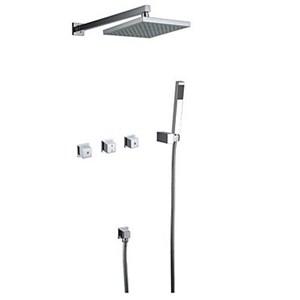 埋込形シャワー水栓 レインシャワーシステム バス蛇口 ハンドシャワー+ヘッドシャワー 混合栓 クロム