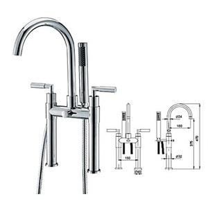 浴槽水栓 浴室水栓 シャワー混合水栓 ハンドシャワー付 水道蛇口 クロム
