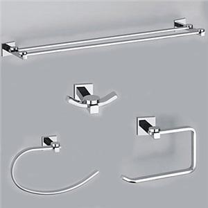 バスアクセサリー 浴室用品シリーズ 真鍮製 クロム 4点セット B(0605-0401+0407+0405+0411)