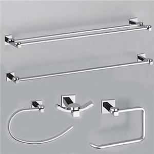 バスアクセサリー 浴室用品シリーズ 真鍮製 クロム 5点セット(0605-0401+0407+0405+0411+0410)