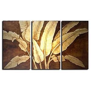 油絵画 手描き植物画 装飾絵画 金箔&銀箔柄 フレームなし 3枚入り
