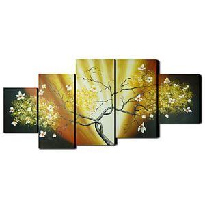 油絵画 手描き植物画 フレームなし 5枚入り
