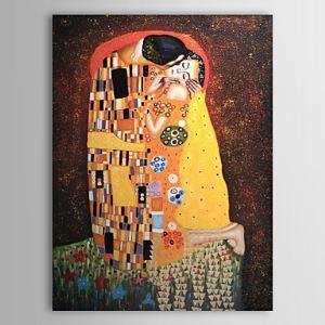 油絵画 グスタフ・クリムトの手描き「KISS」画 フレームなし