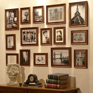 壁掛けフォトフレーム 写真用額縁 フォトデコレーション 15個セット 複数枚 FZ015