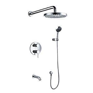 埋込形シャワー水栓 シャワーシステム バス水栓 ハンドシャワー+ヘッドシャワー+蛇口 混合栓 クロム