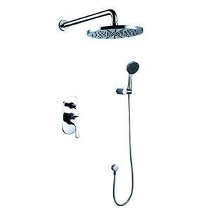 埋込形シャワー水栓 シャワーシステム バス蛇口 ハンドシャワー+ヘッドシャワー 混合栓 クロム(0609-1385100)