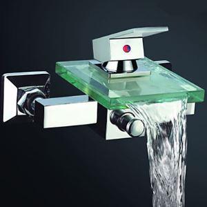 壁付蛇口 浴槽水栓 バス水栓 冷熱混合栓 水道蛇口 ガラス吐水口 クロム