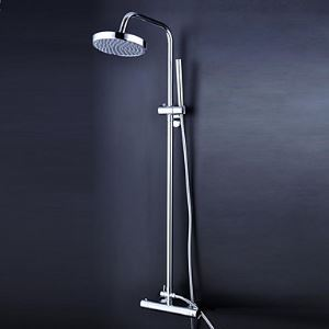 浴室シャワー水栓 レインシャワーシステム シャワーバー バス水栓 ヘッドシャワー+ハンドシャワー サーモスタット付 混合栓 クロム