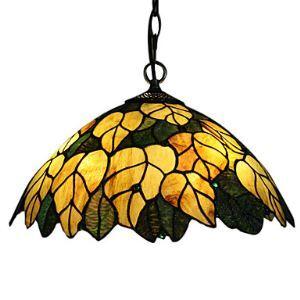 ペンダントライト ステンドグラスランプ ティファニーライト 天井照明 欧米風 黄金葉 2灯
