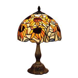 テーブルランプ ステンドグラスランプ 卓上照明 ひまわり柄 1灯 D30cm