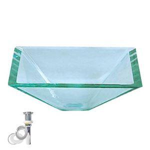 洗面ボウル 洗面器 手洗器 手洗い鉢 洗面台 洗面ボール 排水金具付 フロスト/透明 正四角型