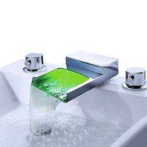 LED洗面蛇口 バス水栓 冷熱混合栓 水道蛇口 温度センサー付 2ハンドル 3色