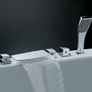 浴槽蛇口 バス水栓 シャワー混合水栓 ハンドシャワー付 水道蛇口 3ハンドル クロム