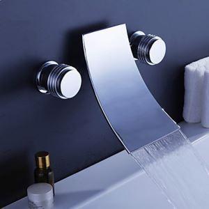 壁付水栓 洗面蛇口 バス水栓 冷熱混合栓 浴槽水栓 水道蛇口 2ハンドル クロム