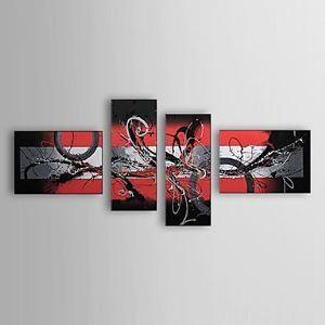 油絵画 手描き抽象画 フレームなし 4枚入り 1303-AB0405