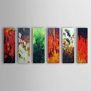 油絵画 手描き抽象画 フレームなし 6枚入り 1303-AB0406