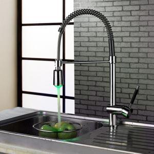 LEDキッチン水栓 台所蛇口 冷熱混合栓 水道蛇口 水栓金具 クロム 水流発電