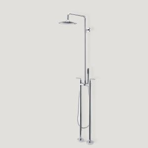 床置きシャワー水栓 床立ち上げ式浴槽蛇口 冷熱混合栓 ハンドシャワー付き クロム