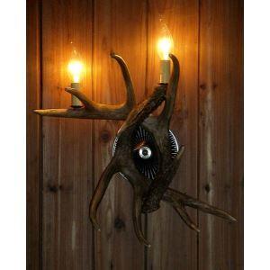 壁掛け照明 ウォールライト ブラケット 鹿角照明 玄関照明 樹脂製 樹脂製 茶褐色 2灯 LED対応 SWL2N1