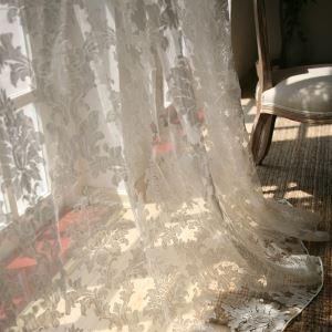 シアーカーテン オーダーカーテン 北欧風 ジャカード 花柄 ポリエステル レースカーテン(1枚) LZ862