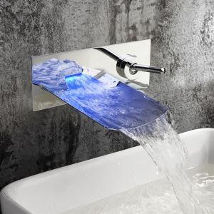 LED壁付蛇口 バス水栓 冷熱混合栓 洗面蛇口 温度センサー付 2ハンドル 3色 クロム