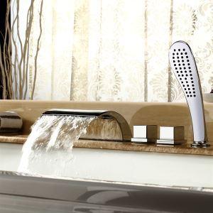浴槽水栓 バス水栓 シャワー混合水栓 ハンドシャワー付 水道蛇口 浴室水栓金具 3ハンドル MPF03