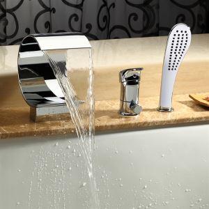 浴槽水栓 バス水栓 シャワー混合水栓 ハンドシャワー付 水道蛇口 C型 クロム MPF02