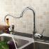 キッチン蛇口 台所蛇口 引出し式水栓 冷熱混合水栓 水道蛇口 クロム MK04