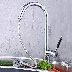 キッチン蛇口 台所蛇口 引出し式水栓 冷熱混合水栓 水道蛇口 クロム MK02