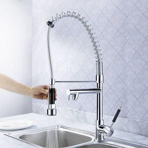 キッチン蛇口 冷熱混合栓 台所蛇口 シンク用水栓 水道蛇口 2吐水口 クロム MK01