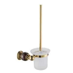 トイレブラシホルダー トイレ用品 トイレブラシ&ポット付き 真鍮&マーブル Ti-PVD