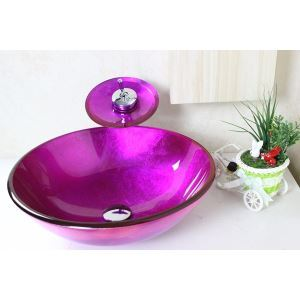 洗面ボウル&蛇口セット 手洗い鉢 洗面器 強化ガラス製 排水金具付 オシャレ VT4064