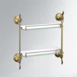 化粧棚 シェルフ ガラス棚 浴室棚 バスアクセサリー 浴室収納 2段 Ti-PVD