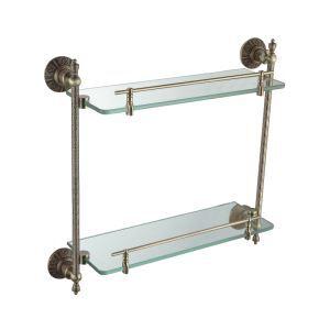 化粧棚 シェルフ ガラス棚 浴室棚 バスアクセサリー 浴室収納 ブラス色 2段