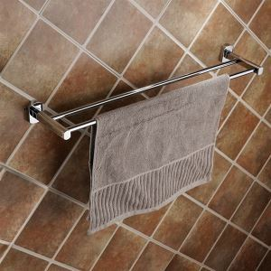 浴室二重タオルバー タオル掛け タオル収納 壁掛けハンガー バスアクセサリー クロム