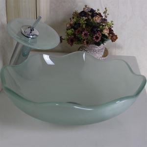 純色洗面ボウル&蛇口セット 手洗い鉢 洗面器 強化ガラス製 排水金具付 スリ