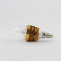 LEDシャンデリア電球 電球色・昼光色 270LM 3W E12 AC85-265V 金色