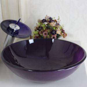 洗面ボウル&蛇口セット 手洗い鉢 洗面器 強化ガラス製 排水金具付 オシャレ 濃い紫 丸型 VT0001