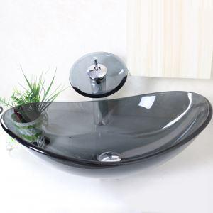 洗面ボウル&蛇口セット 手洗い鉢 洗面器 強化ガラス製 排水金具付 オシャレ 透明&灰色 楕円型 VT0003